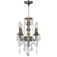 CWI Lighting 2037P14AB-4 Brass 4 Light 14 inch Antique Brass Up Chandelier Ceiling Light