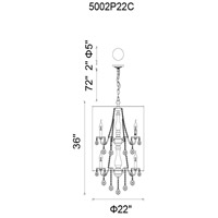 CWI Lighting 5002P22C(W) Sheer 8 Light 24 inch Chrome Chandelier Ceiling Light
