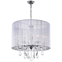 CWI Lighting 5002P24C(W) Sheer 6 Light 24 inch Chrome Chandelier Ceiling Light