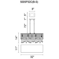 CWI Lighting 5005P32C(B-S) Water Drop 10 Light 32 inch Chrome Drum Shade Chandelier Ceiling Light