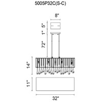 CWI Lighting 5005P32C(S-C) Water Drop 10 Light 32 inch Chrome Drum Shade Chandelier Ceiling Light