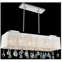 CWI Lighting 5005P32C(W-C) Water Drop 10 Light 32 inch Chrome Drum Shade Chandelier Ceiling Light