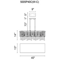 CWI Lighting 5005P40C(W-C) Water Drop 14 Light 40 inch Chrome Drum Shade Chandelier Ceiling Light