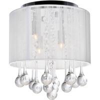 CWI Lighting 5006C10C-R (W) Water Drop 4 Light 10 inch Chrome Drum Shade Flush Mount Ceiling Light