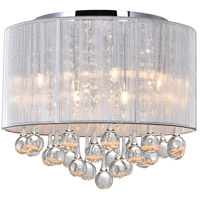 CWI Lighting 5006C14C-R (S) Water Drop 6 Light 14 inch Chrome Drum Shade Flush Mount Ceiling Light