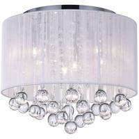 CWI Lighting 5006C14C-R (W) Water Drop 6 Light 14 inch Chrome Drum Shade Flush Mount Ceiling Light
