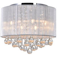CWI Lighting 5006C14C-R-(S) Water Drop 6 Light 14 inch Chrome Flush Mount Ceiling Light