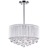 CWI Lighting 5006P18C-R(S) Water Drop 6 Light 18 inch Chrome Drum Shade Chandelier Ceiling Light