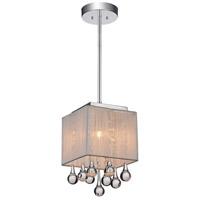 CWI Lighting 5006P6C-S (W) Water Drop 1 Light Chrome Drum Shade Mini Pendant Ceiling Light