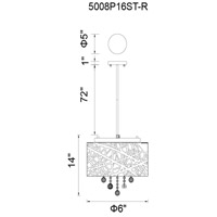 CWI Lighting 5008P16ST-R Eternity 6 Light 16 inch Chrome Chandelier Ceiling Light