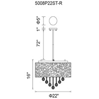 CWI Lighting 5008P22ST-R Eternity 9 Light 22 inch Chrome Chandelier Ceiling Light