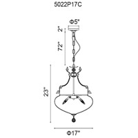 CWI Lighting 5022P17C Lily 6 Light 17 inch Chrome Chandelier Ceiling Light