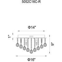 CWI Lighting 5052C16C-R Sparkle 6 Light 16 inch Chrome Flush Mount Ceiling Light