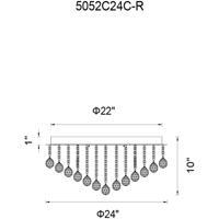 CWI Lighting 5052C24C-R Sparkle 12 Light 24 inch Chrome Flush Mount Ceiling Light