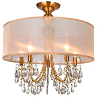 CWI Lighting 5061C22GB Halo 5 Light 22 inch French Gold Flush Mount Ceiling Light