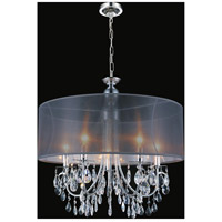 CWI Lighting 5061P22C-B Halo 5 Light 22 inch Chrome Chandelier Ceiling Light