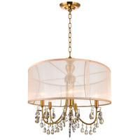 CWI Lighting 5061P22GB Halo 5 Light 22 inch French Gold Chandelier Ceiling Light