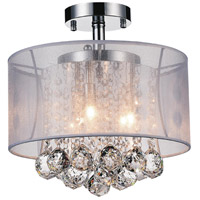 CWI Lighting 5062C12C-(CLEAR-+-W) Radiant 3 Light 12 inch Chrome Flush Mount Ceiling Light