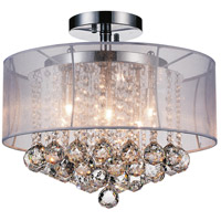 CWI Lighting 5062C16C-(CLEAR-+-W) Radiant 6 Light 16 inch Chrome Flush Mount Ceiling Light