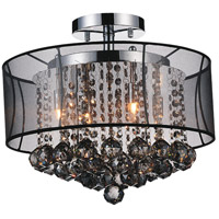 CWI Lighting 5062C16C-(SMOKE-+-B) Radiant 6 Light 16 inch Chrome Flush Mount Ceiling Light