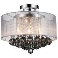 CWI Lighting 5062C16C-(SMOKE-+-W) Radiant 6 Light 16 inch Chrome Flush Mount Ceiling Light