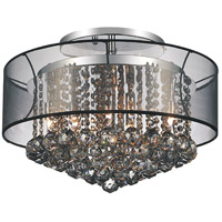 CWI Lighting 5062C20C-(SMOKE-+-B) Radiant 9 Light 20 inch Chrome Flush Mount Ceiling Light