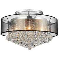 CWI Lighting 5062C24C(BLACK+C) Radiant 12 Light 24 inch Chrome Flush Mount Ceiling Light