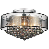 CWI Lighting 5062C24C-(SMOKE+-B) Radiant 12 Light 24 inch Chrome Flush Mount Ceiling Light