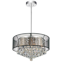 CWI Lighting 5062P20C-(CLEAR-+-BK) Radiant 9 Light 20 inch Chrome Chandelier Ceiling Light