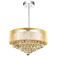 CWI Lighting 5062P24C (CHP + G) Radiant 12 Light 24 inch Chrome Drum Shade Chandelier Ceiling Light