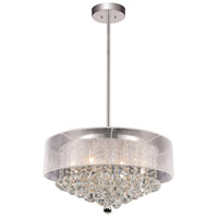 CWI Lighting 5062P24C (CLEAR + W) Radiant 12 Light 24 inch Chrome Drum Shade Chandelier Ceiling Light