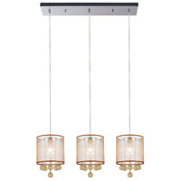 CWI Lighting 5062P24C-3-(CHP-+-G) Radiant 3 Light 24 inch Chrome Chandelier Ceiling Light
