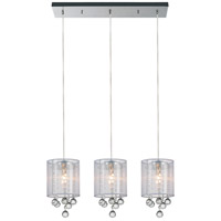 CWI Lighting 5062P24C-3-(CLEAR-+-W) Radiant 3 Light 24 inch Chrome Chandelier Ceiling Light