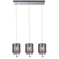 CWI Lighting 5062P24C-3-(SMOKE-+-B) Radiant 3 Light 24 inch Chrome Chandelier Ceiling Light