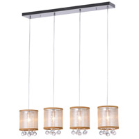 CWI Lighting 5062P33C-4-(CLEAR-+-G) Radiant 4 Light 33 inch Chrome Chandelier Ceiling Light