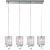 CWI Lighting 5062P33C-4-(CLEAR-+-W) Radiant 4 Light 33 inch Chrome Chandelier Ceiling Light