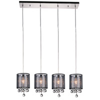 CWI Lighting 5062P33C-4-(SMOKE-+-B) Radiant 4 Light 33 inch Chrome Chandelier Ceiling Light