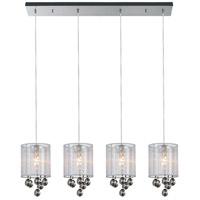 CWI Lighting 5062P33C-4-(SMOKE-+-W) Radiant 4 Light 33 inch Chrome Chandelier Ceiling Light