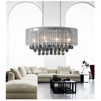 CWI Lighting 5063P26C-(SMOKE+-W) Radiant 6 Light 26 inch Chrome Chandelier Ceiling Light