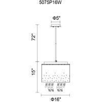 CWI Lighting 5075P16W Carmella 5 Light 16 inch White Chandelier Ceiling Light
