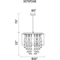 CWI Lighting 5075P24B Carmella 6 Light 24 inch Black Chandelier Ceiling Light