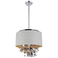 CWI Lighting 5075P24W Carmella 6 Light 24 inch White Drum Shade Chandelier Ceiling Light