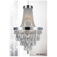 CWI Lighting 5078P24C-(CLEAR) Vast 13 Light 24 inch Chrome Chandelier Ceiling Light