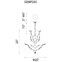 CWI Lighting 5206P22C Ivy 6 Light 22 inch Chrome Chandelier Ceiling Light photo thumbnail