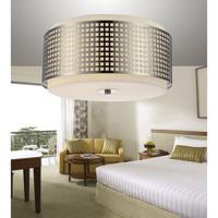 CWI Lighting 5209C15N Checkered 2 Light 15 inch Satin Nickel Drum Shade Flush Mount Ceiling Light