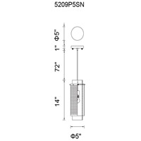 CWI Lighting 5209P5SN Checkered 1 Light 5 inch Satin Nickel Pendant Ceiling Light