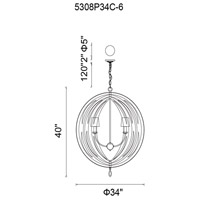 CWI Lighting 5308P34C-6 Bird Cage 6 Light 34 inch Chrome Chandelier Ceiling Light