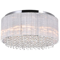 CWI Lighting 5319C20C-R Spring Morning 9 Light 20 inch Chrome Drum Shade Flush Mount Ceiling Light