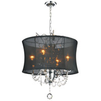 CWI Lighting 5335P16C-(BLACK) Charlotte 4 Light 16 inch Chrome Chandelier Ceiling Light