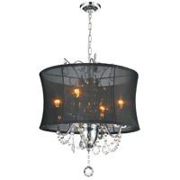 CWI Lighting 5335P16C-(BLACK) Charlotte 4 Light 16 inch Chrome Chandelier Ceiling Light